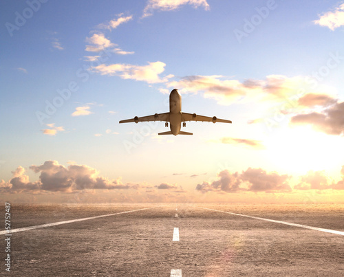 canvas print picture airplane on runway