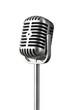 Leinwanddruck Bild - Vintage silver microphone isolated on white background