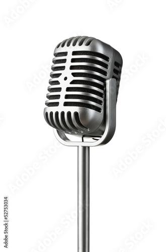 Leinwanddruck Bild Vintage silver microphone isolated on white background