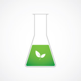 Chemical test tube green leaf vector