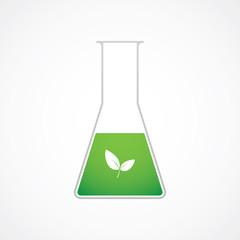 Chemical test tube green leaf vector