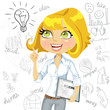 Girl with electronic tablet inspiration idea on business doodles