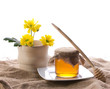 rural style with honey and flower