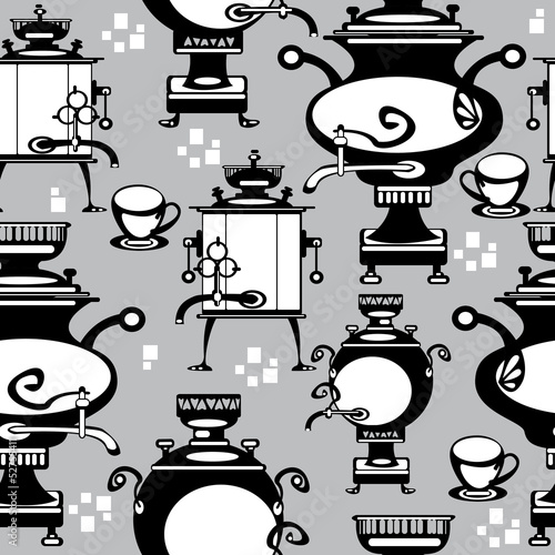 seamless illustration samovar on gray background