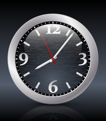 Analog clock icon on the dark background. Vector