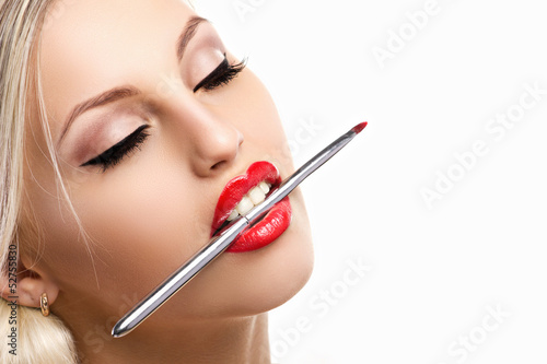glamour woman with makeup brash
