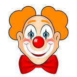 Vector illustration of smiling clown with red bow