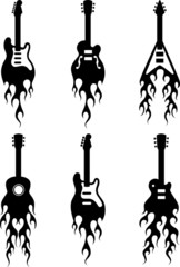 guitars with flames silhouettes