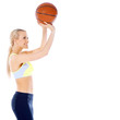Female basketball player is ready to shoot