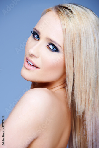 Side view portrait of blond sexy woman