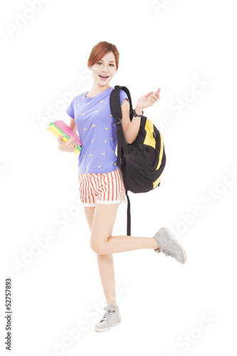 happy student  girl holding books