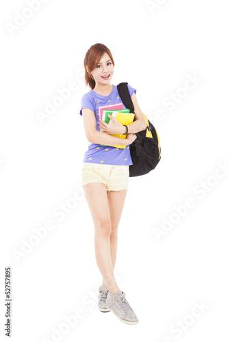 full length happy student  girl holding books