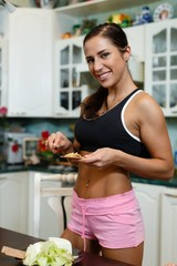 Sports woman and healthy food.