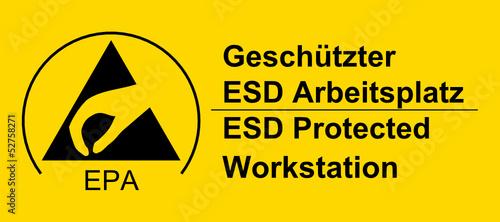 Schild - Geschützter ESD Arbeitsplatz