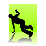 Break dancer light green square