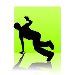 Break dancer light green square