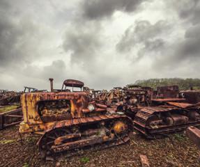rusted farm tractors