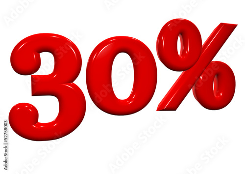 30 percent in red letters on a white background