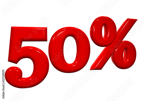 50 percent in red letters on a white background