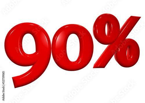 90 percent in red letters on a white background