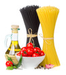 Italian food  - spaghetti, tomatoes, basil, olive oil, garlic an