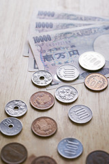 Japanese Yen coins and bills