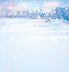 Vector of winter snowy landscape with house in forest.