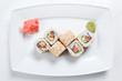 Maki Sushi on plate isolated on white