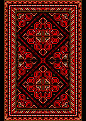 Bright carpet in the old style with red and burgundy shades