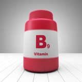 Vitamin B9 red bottle
