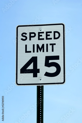 Forty five mph speed limit sign