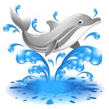 Happy Jumping Dolphin Cartoon-Delfino Salta in Acqua