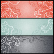 Banners with floral pattern in retro style.