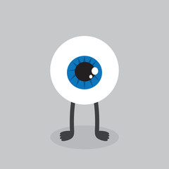 Eyeball character with feet standing