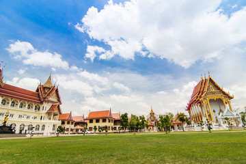Thai temple with bluesky and green grass, religion