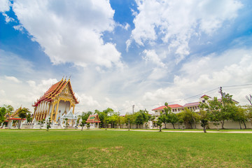 Thai temple with bluesky and green grass, temple in Nontaburi