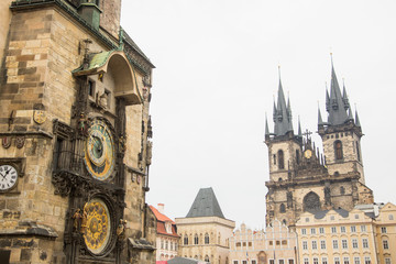 Atronomical Clock and Our Lady Before Tyn Church in Prague