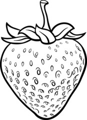 strawberry illustration for coloring book