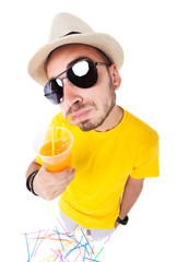 funny man drinking juice wearing sun glasses, hat