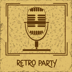 Invitation to retro party with microphone