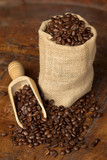 burlap sack and scoop with coffee beans