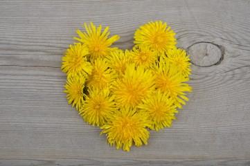 Yellow flowers in heart shape