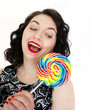 retro woman with a lollipop