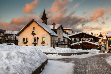 Village of Megeve in the Evening, French Alps, France