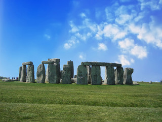 Details of Stonehenge with beautiful sky.
