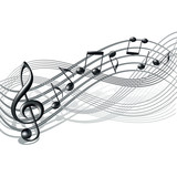 Musical notes staff background on white. - 52765869