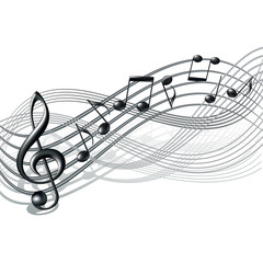 Musical notes staff background on white.