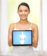 woman holding tablet pc with dieting application