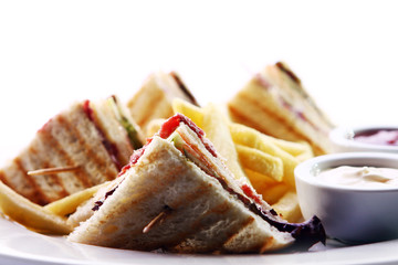 Club sandwich with meat and green