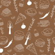 Food seamless pattern. Hand drawn vector